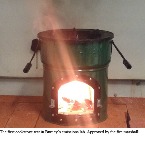 The first cookstove tested in Burney's lab